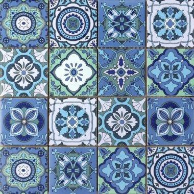 """Bati Orient Cement Tile Patchwork Square 11.8"""" x 11.8"""" - Blue Mix White"""