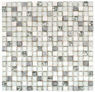 "Glass Tile Decor 5/8"" x 5/8"" - White Grey"