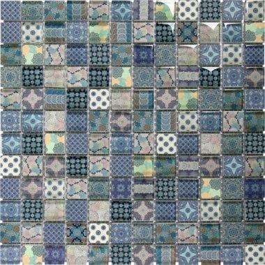 "Glass Tile Classic Decor Glossy 11.8"" x 11.8"" - Blue"