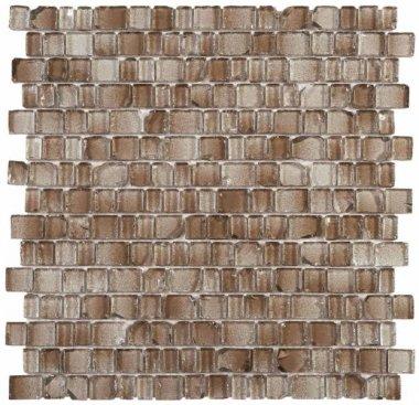 """Glass Tile Broken Edges Irregular Mosaic 12.2"""" x 12.4"""" - Brown"""