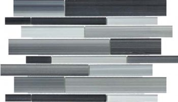 Bliss Fusion Glass Tile Random Strip Mosaic - Carbon