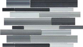 Bliss Fusion Glass Tile Random Strip Mosaic - Carbon