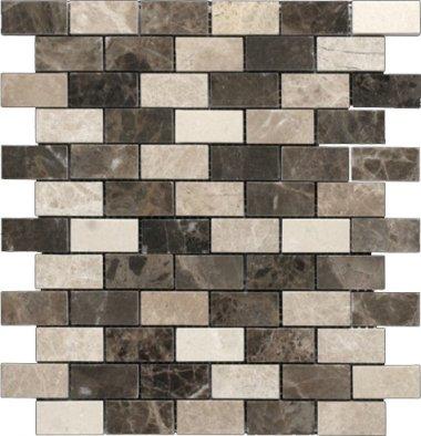 """Emperador Dark Line Mosaic 1"""" x 2"""" - Brown Blend"""