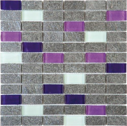"Bati Orient - Quartzite Stone Tile Mosaic Polished 1"" x 2 ..."