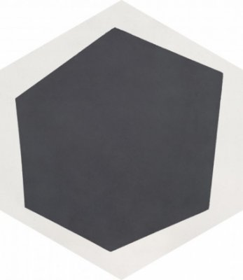 """Bati Orient Cement Tile Hexagon Modern 8"""" x 9"""" - Off White/Antracite"""